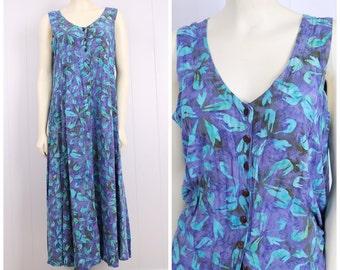 vintage 1990s jumper dress blue + purple hawaiian floral coconut button front grunge sun dress