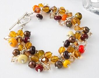 Beaded, Lampwork and Silver Bracelet