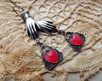 Sweetheart earrings, vintage inspired silver hands with hand painted heart