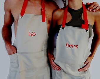 Personalized Couple HIS and HERS Aprons Mr and Mrs Set/Gifts for Couples/Custom Wedding Gift Tan Khaki