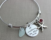 it matters to this one, stainless steel adjustable bangle bracelet, starfish charm, genuine sea glass and Swarovski birthstone, teacher gift