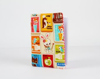 Fabric card holder - Kawaii japanese labels / Japanese fabric / Cute bunnies / Pink blue mustard yellow brown red / Little animals