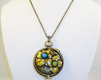Elegant Brass Tone Floral Locket Pendant Necklace