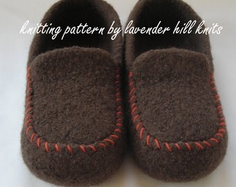 Knitting Pattern PDF - Men's Felted Wool Slippers - great DIY gift - knitting pattern using BULKY weight yarn