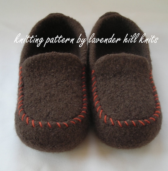 Knitting Pattern PDF - Men's Felted Wool Loafers Mocs Slippers - DIY Christmas gift  - resell permission - BULKY weight yarn