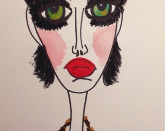 Lily, 9 x 12 mixed media, painting, water color paper, fashion illustration, wall art