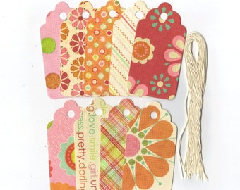 Clearance Sale / Assorted Large Scallop Die Cut Gift Hang Tags (Set of 9) (C21)
