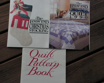 Vintage 1990 Lands' End Christmas Quilt and Stocking Patterns