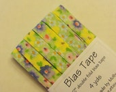 "Bias Tape - 4 yds - 1/2"" Double Fold - Yellow Green Purple Floral"