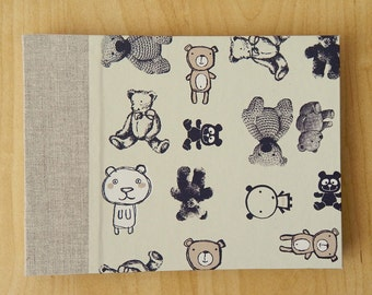 "Teddy Bears Photo Album, Baptism Book. 7"" x 5"" Photo Book. Choose cover lining and ribbon colors."