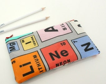 Periodic Table Oilcloth Pencil Case, Accessory Case