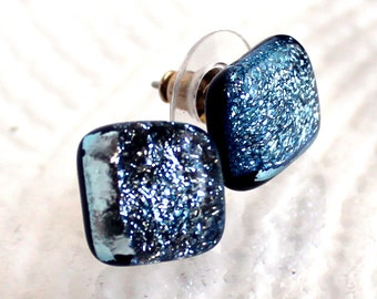Silver Blue OOAK Stained Glass Fused Dichroic Post Jewelry Earrings - All Occasion Gift