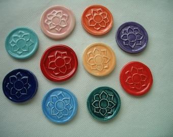 MG10 - 10 pc LOTUS MAGNET Tiles -  Ceramic Mosaic Tiles Set