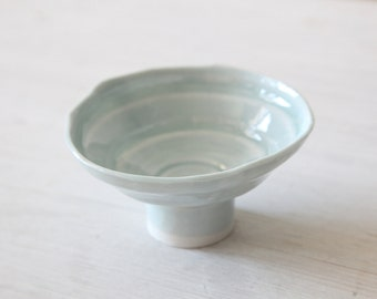 Hand Built Footed light blue bowl