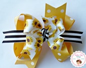 NEW----Big Boutique Triple Layered Hair Bow Clip---Fancy Sunflowers