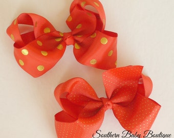 SALE----Boutique Large Hair Bow Clip----Red and Gold Dot----Swiss or Polka Dot