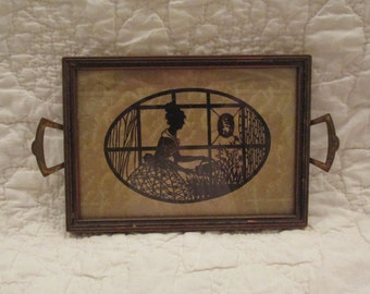 Vintage Silhouette Art Deco Picture Tray