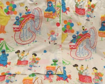 Vintage Sesame St Muppets Inc Curtain Panels set of 2 - 36 x 38 inches SALE