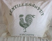 Faux French Feed Sack Pillow Sham with Rooster