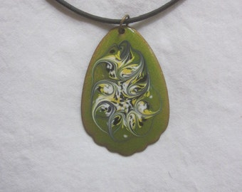 Glass Enamel on Copper Vintage 70s Pendant Necklace