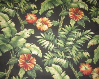 "Dramatic Sturdy Cotton Perfect Unused Tropical Floral Hibiscus Fabric  54"" x 9 1/2 YARDS"