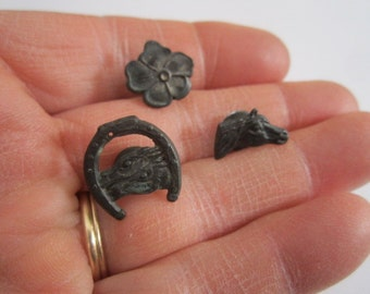Vintage 1940s Lot of 3 Metal Cracker Jack Prize Horse and Flower Stud Charms
