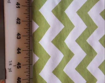 Lightweight Knit Soft Olive Green Chevron on white Background 2yd