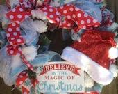 MAGIC OF CHRISTMAS wreath on light blue deco mesh wreath, glittered Santa hat, ribbon- Christmas wreath, Winter Wreath
