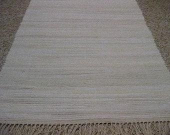 Handwoven Off White Rag Rug 25 x 58 (M)