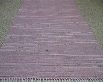 Handwoven Pink Rag Rug 25 x 50