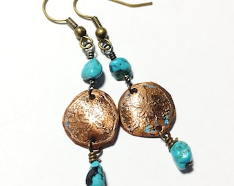 Sand Dollar Earrings, Etched Copper Earrings with Turquoise