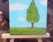 Tree and Cardinal Original Mini Painting, home decor