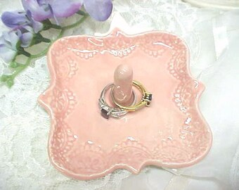 Engagement Ring Holder Lovely Ring Holder Dish in Tea Rose Pink Pottery Jewelry Dish with Lacy Framed Edges