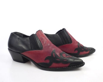 Winklepicker Short boots Vintage 1980s Neil Stephen Leather Shoes Booties Women's size 8