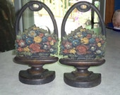 Bradley & Hubbard cast iron flower urn floral basket with handle pair Bookend doorstop antique Americana