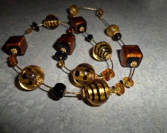 Venetian hand blown copper gold black swirl & polka dot art glass beads NECKLACE