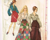Simplicity 8550 Vintage 1960s Blouse and Long Boho Skirt, Wide Leg Palazzo Pants Sewing Pattern Size 12 Bust 34