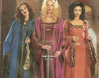 Fantasy Medieval Renaissance Dress Hooded Cape Costume McCalls 3663 Misses Sewing Pattern Size 6 8 10 12 Bust 30.5 31.5 32.5 34