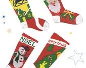 1950s Knit O Graf PATTERN Christmas Stockings Santa in Sleigh Santa face Snowman Christmas Tree PDF format Instant Download