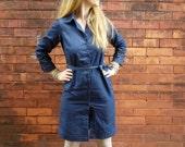 Denim Button Up Shirt Dress~Tie Waist Dress~Jean Dress~Shift Dress~Dress with Belt~Long Sleeve Dress~Dress with Collar~Button Down Front