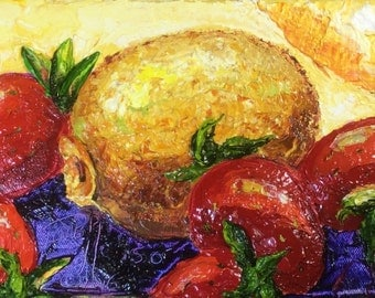 Strawberry Kiwi  6x12 Inch Original Impasto Oil Painting by Paris Wyatt Llanso