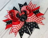 """3.5"""" Red, White & Black Minnie Bow-Minnie Mouse Bow-Photo Prop"""