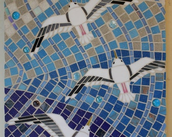 Stained Glass, Mosaic, Vitreous Glass, Gulls, Seagulls, Gliding, Flying, Beach, Ocean, Sea