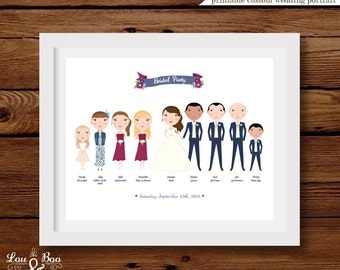 Printable Custom illustrated Wedding Bridal Party Portrait - 14 x 11 inches