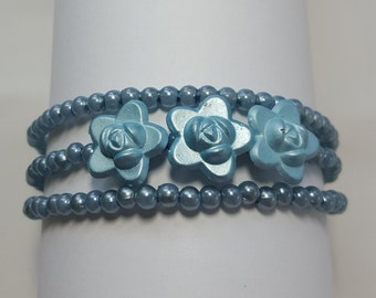 Blue rose beaded memory wire bracelet for young girl