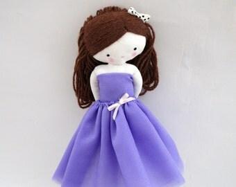 Ballerina rag doll - plush toy cloth art doll ballerina in purple tutu dancer ballet ooak
