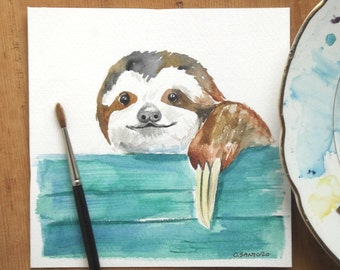 sloth watercolor painting