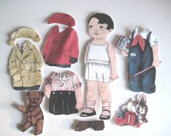 Children's Fabric paper DollTravel toy Paper doll  Cutie Retro - Bobby
