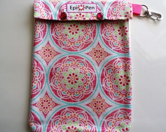 Epi Pen Case Clear Pocket Carrier with Swivel Clip Holds 2 Allergy Pens Liquid Meds ID Card (6x8 Pink Medallions Fabric)