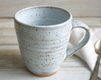 Large Stoneware Mug in White Speckled Glaze Rustic Pottery Cup Ready to Ship Made in USA